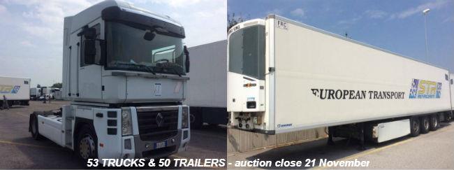 Търг онлайн за 53 камиона и 50 хладилни полуремаркета